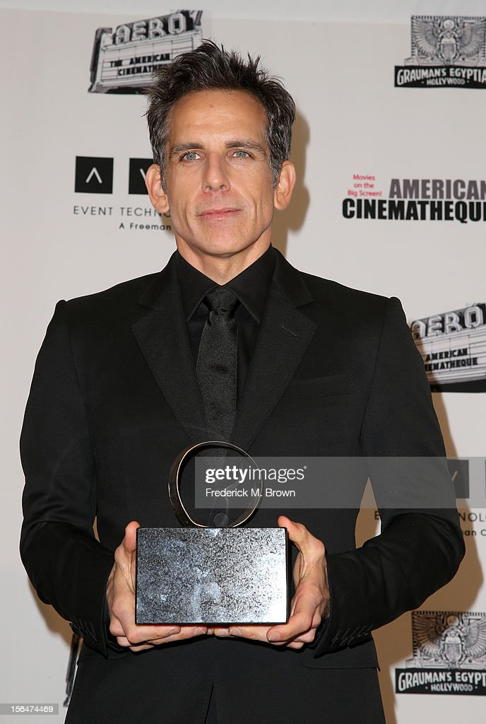 Honoree, actor <a gi-track='captionPersonalityLinkClicked' href=/galleries/search?phrase=Ben+Stiller&family=editorial&specificpeople=201806 ng-click='$event.stopPropagation()'>Ben Stiller</a> poses with the American Cinematheque Award during the photo op at the 26th American Cinematheque Award Gala honoring <a gi-track='captionPersonalityLinkClicked' href=/galleries/search?phrase=Ben+Stiller&family=editorial&specificpeople=201806 ng-click='$event.stopPropagation()'>Ben Stiller</a> at The Beverly Hilton Hotel on November 15, 2012 in Beverly Hills, California.