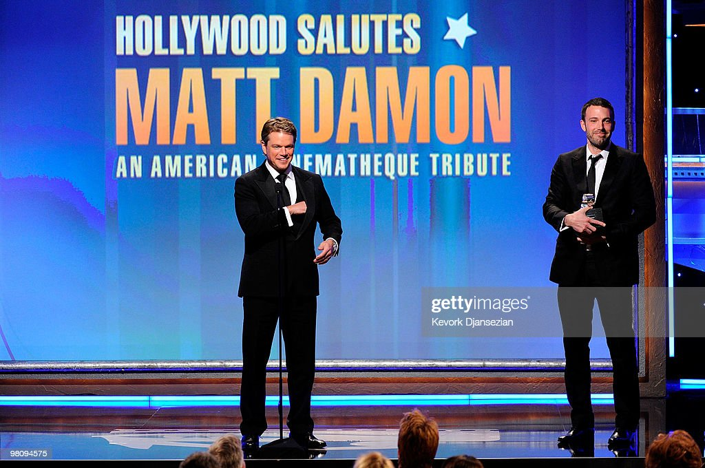 Honoree actor <a gi-track='captionPersonalityLinkClicked' href=/galleries/search?phrase=Matt+Damon&family=editorial&specificpeople=202093 ng-click='$event.stopPropagation()'>Matt Damon</a> and actor <a gi-track='captionPersonalityLinkClicked' href=/galleries/search?phrase=Ben+Affleck&family=editorial&specificpeople=201856 ng-click='$event.stopPropagation()'>Ben Affleck</a> speak onstage during American Cinematheque 24th Annual Award Presentation To <a gi-track='captionPersonalityLinkClicked' href=/galleries/search?phrase=Matt+Damon&family=editorial&specificpeople=202093 ng-click='$event.stopPropagation()'>Matt Damon</a> at The Beverly Hilton hotel on March 27, 2010 in Beverly Hills, California.