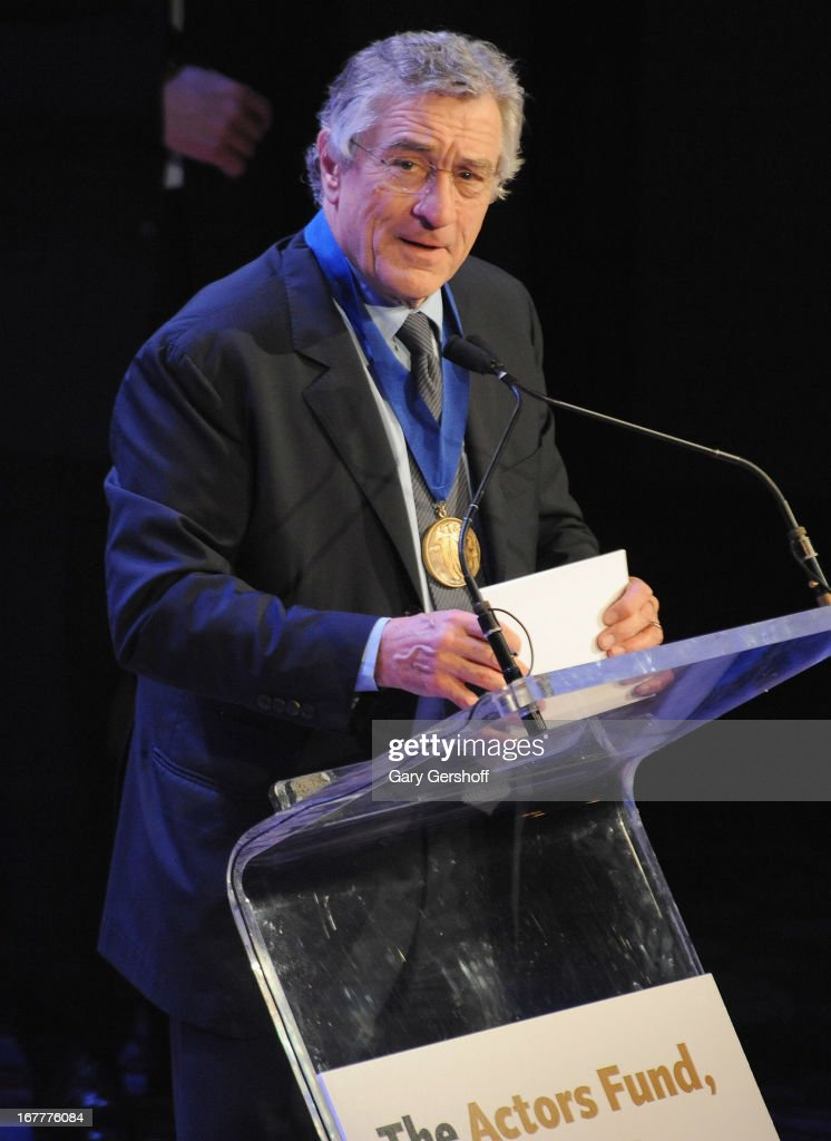 Honoree, actor <a gi-track='captionPersonalityLinkClicked' href=/galleries/search?phrase=Robert+De+Niro&family=editorial&specificpeople=201673 ng-click='$event.stopPropagation()'>Robert De Niro</a> accepts his award at the 2013 Actors Fund Gala at the Marriott Marquis Hotel on April 29, 2013 in New York City.