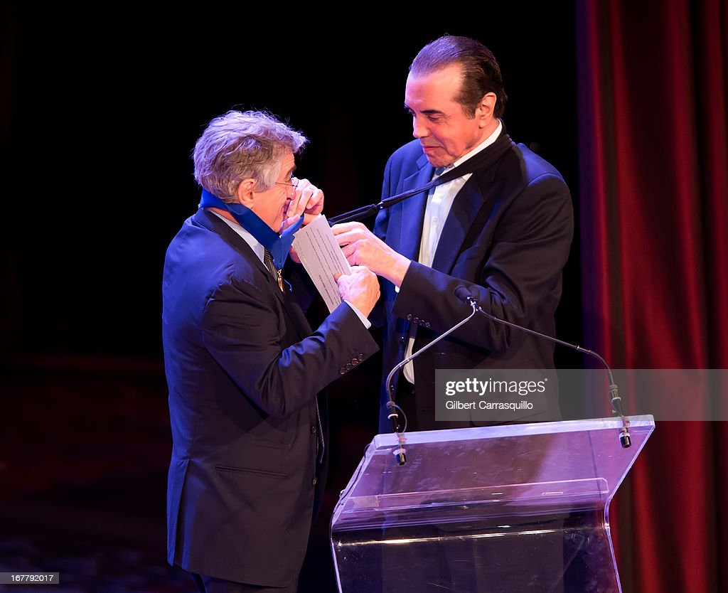 Honoree, actor Robert De Niro and actor <a gi-track='captionPersonalityLinkClicked' href=/galleries/search?phrase=Chazz+Palminteri&family=editorial&specificpeople=211446 ng-click='$event.stopPropagation()'>Chazz Palminteri</a> attend the 2013 Actors Fund's Annual Gala Honoring Robert De Niro at The New York Marriott Marquis on April 29, 2013 in New York City.