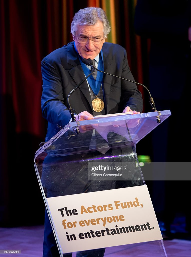 Honoree, actor <a gi-track='captionPersonalityLinkClicked' href=/galleries/search?phrase=Robert+De+Niro&family=editorial&specificpeople=201673 ng-click='$event.stopPropagation()'>Robert De Niro</a> attends the 2013 Actors Fund's Annual Gala Honoring <a gi-track='captionPersonalityLinkClicked' href=/galleries/search?phrase=Robert+De+Niro&family=editorial&specificpeople=201673 ng-click='$event.stopPropagation()'>Robert De Niro</a> at The New York Marriott Marquis on April 29, 2013 in New York City.