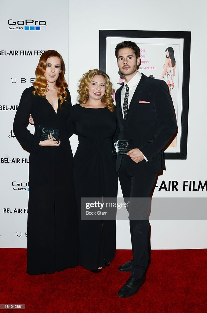 Honoree actress <a gi-track='captionPersonalityLinkClicked' href=/galleries/search?phrase=Rumer+Willis&family=editorial&specificpeople=617003 ng-click='$event.stopPropagation()'>Rumer Willis</a>, president of the Bel Air Film Festival Melody Storm and honoree actor Jayson Blair arrive at the 2013 Bel-Air Film Festival Red Carpet Gala at Hammer Museum on October 10, 2013 in Westwood, California.