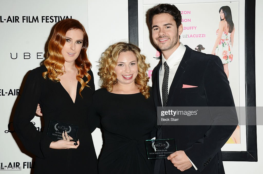 Honoree actress Rumer Willis, president of the Bel Air Film Festival Melody Storm and honoree actor Jayson Blair arrive at the 2013 Bel-Air Film Festival Red Carpet Gala at Hammer Museum on October 10, 2013 in Westwood, California.