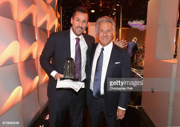 Honoree Adam Sandler recipient of the Hollywood Comedy Award for 'The Meyerowitz Stories' and actor Dustin Hoffman attend the 21st Annual Hollywood...