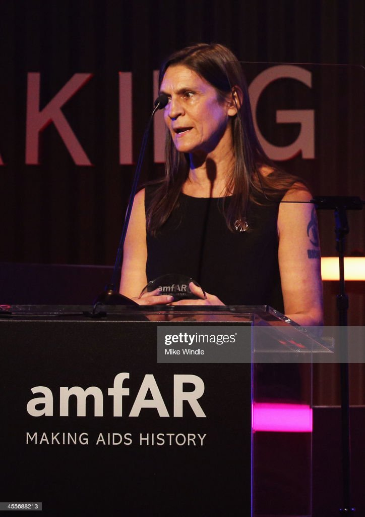 Honoree Aileen Getty speaks onstage during the 2013 amfAR Inspiration Gala Los Angeles presented by MAC Viva Glam at Milk Studios on December 12 2013...