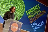 Honoree Alejandro Gonzalez Inarritu accepts the 2015 Vanguard Leadership Award onstage at the 2015 Sundance Institute Celebration Benefit at 3LABS on...