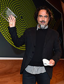 Honoree Alejandro Gonzalez Inarritu poses with the 2015 Vanguard Leadership Award onstage at the 2015 Sundance Institute Celebration Benefit at 3LABS...