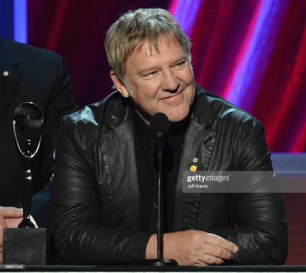 Honoree <a gi-track='captionPersonalityLinkClicked' href=/galleries/search?phrase=Alex+Lifeson&family=editorial&specificpeople=228149 ng-click='$event.stopPropagation()'>Alex Lifeson</a> onstage at the 28th Annual Rock and Roll Hall of Fame Induction Ceremony at Nokia Theatre L.A. Live on April 18, 2013 in Los Angeles, California.