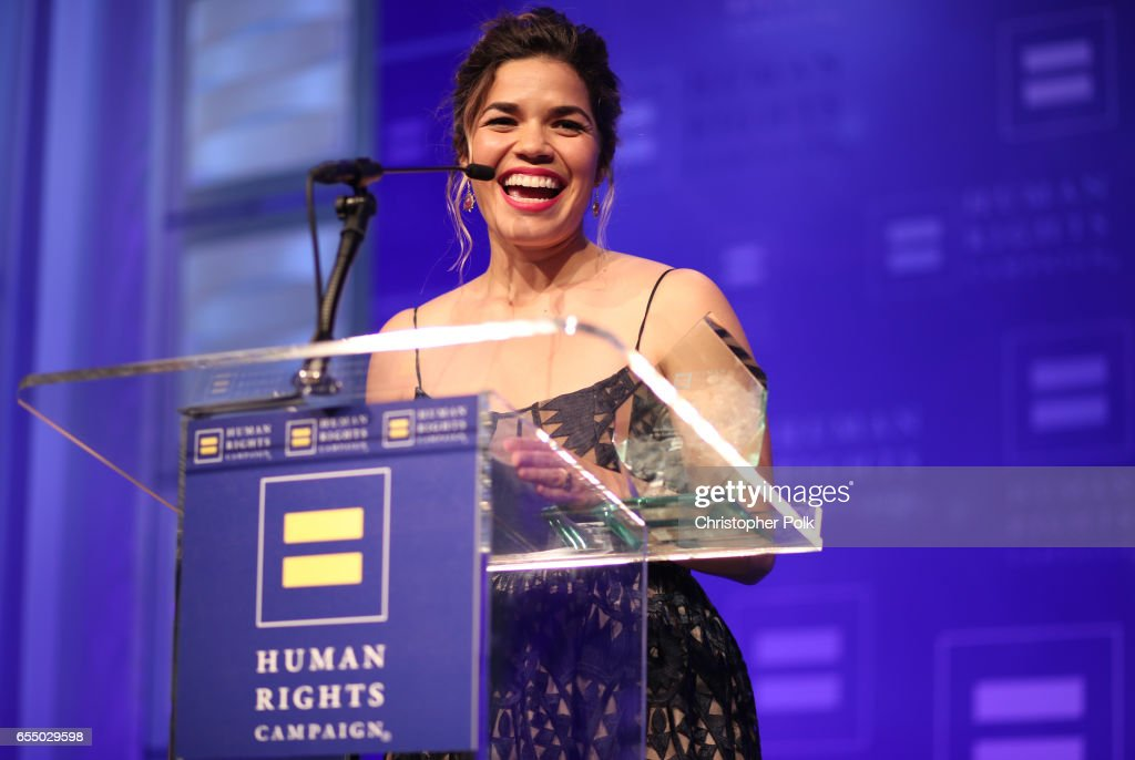 Honoree America Ferrera accepts the HRC Ally for Equality Award onstage at The Human Rights Campaign 2017 Los Angeles Gala Dinner at JW Marriott Los Angeles at L.A. LIVE on March 18, 2017 in Los Angeles, California.