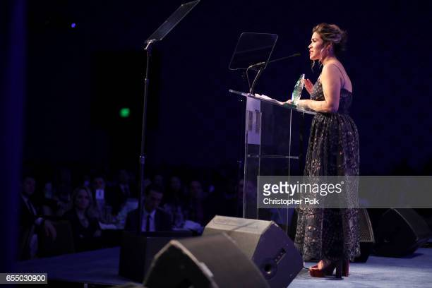 Honoree America Ferrera accepts the HRC Ally for Equality Award onstage at The Human Rights Campaign 2017 Los Angeles Gala Dinner at JW Marriott Los...