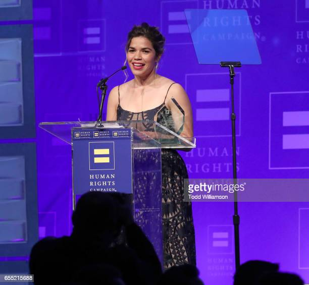 Honoree America Ferrera accepts the HRC Ally for Equality Award onstage at the Human Rights Campaign's 2017 Los Angeles Gala Dinner at JW Marriott...