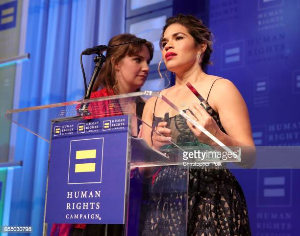 Honoree America Ferrera accepts the HRC Ally for Equality Award with actor Lena Dunham onstage at The Human Rights Campaign 2017 Los Angeles Gala...