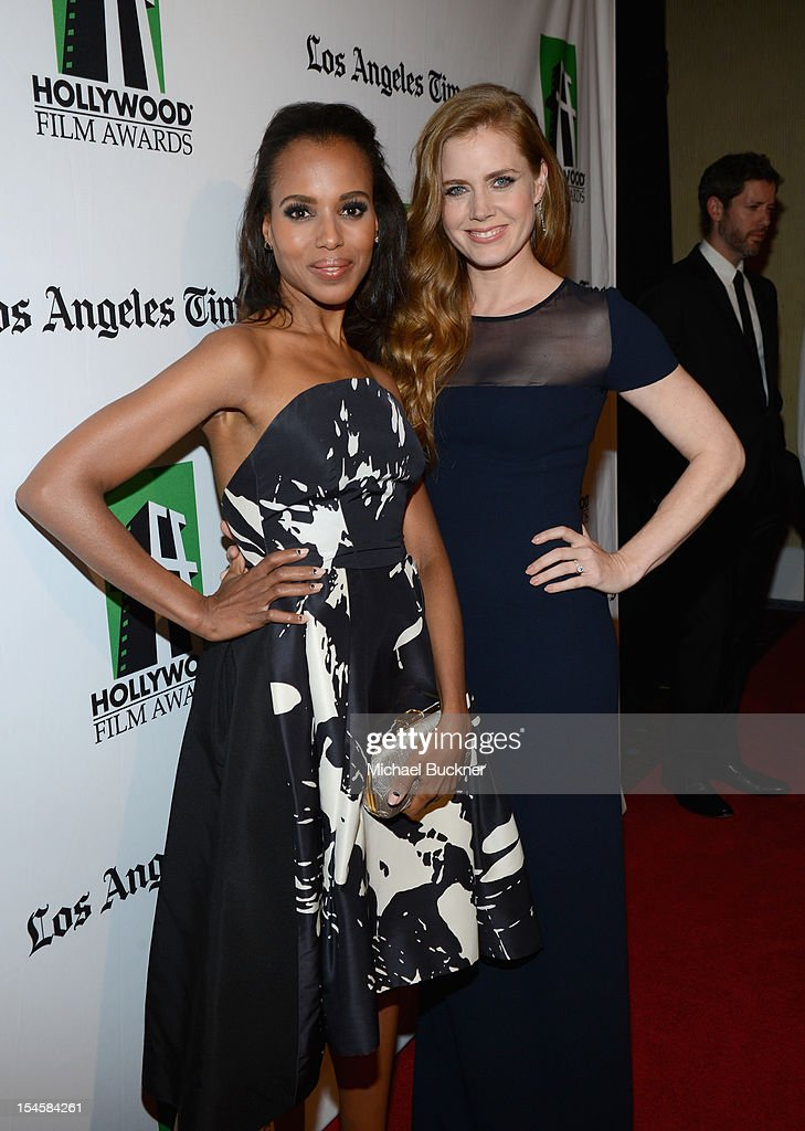 Honoree <a gi-track='captionPersonalityLinkClicked' href=/galleries/search?phrase=Amy+Adams&family=editorial&specificpeople=213938 ng-click='$event.stopPropagation()'>Amy Adams</a> (R) and actress <a gi-track='captionPersonalityLinkClicked' href=/galleries/search?phrase=Kerry+Washington&family=editorial&specificpeople=201534 ng-click='$event.stopPropagation()'>Kerry Washington</a> arrive at the 16th Annual Hollywood Film Awards Gala presented by The Los Angeles Times held at The Beverly Hilton Hotel on October 22, 2012 in Beverly Hills, California.