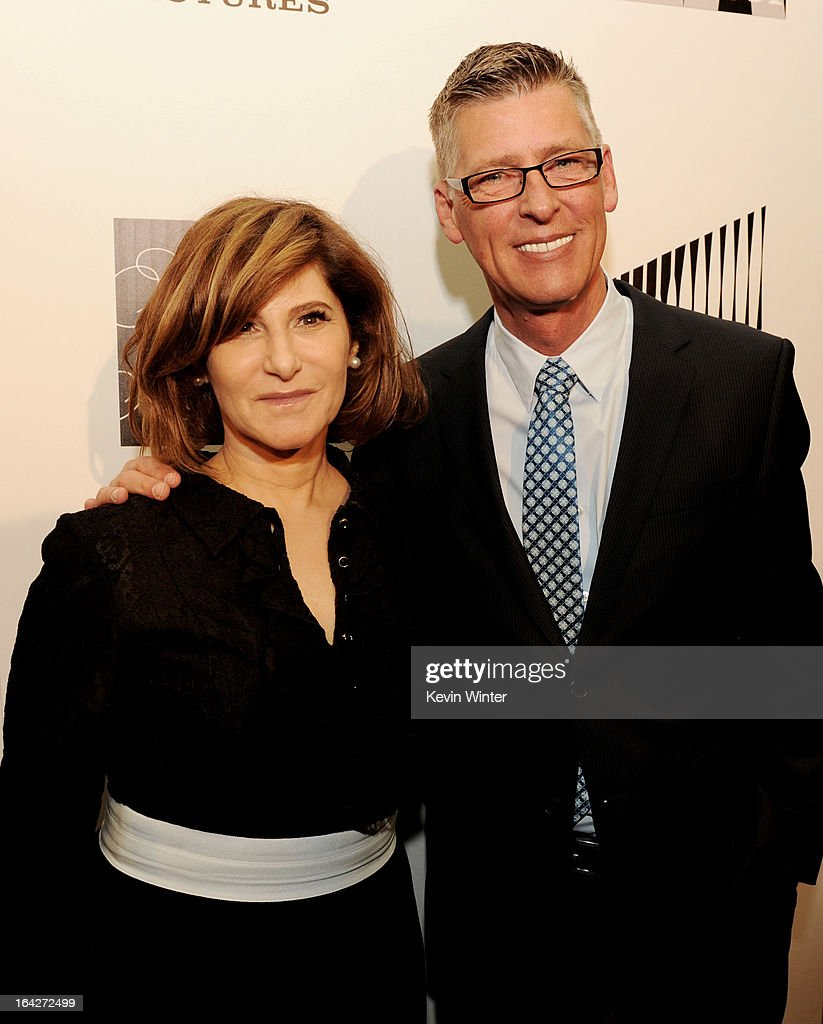 Honoree Amy Pascal, Co-Chairman, Sony Pictures Entertainment (L) and Darrel Cummings, Chief of Staff, L.A. Gay and Lesbian Center pose at 'An Evening' benifiting The L.A. Gay & Lesbian Center at the Beverly Wilshire Hotel on March 21, 2013 in Beverly Hills, California.