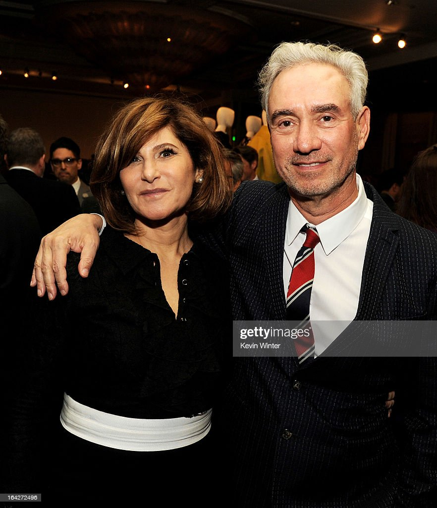 Honoree Amy Pascal, Co-Chairman, Sony Pictures Entertainment (L) and director Roland Emmerich pose at 'An Evening' benifiting The L.A. Gay & Lesbian Center at the Beverly Wilshire Hotel on March 21, 2013 in Beverly Hills, California.