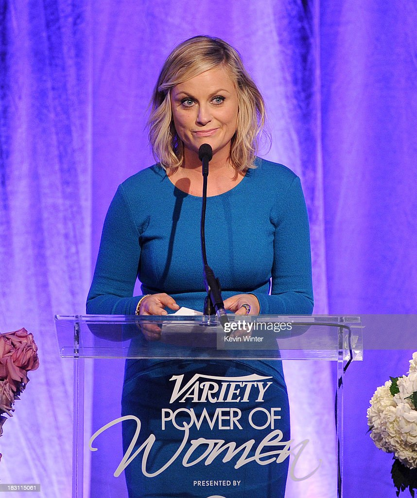 Honoree <a gi-track='captionPersonalityLinkClicked' href=/galleries/search?phrase=Amy+Poehler&family=editorial&specificpeople=228430 ng-click='$event.stopPropagation()'>Amy Poehler</a> speaks onstage during Variety's 5th Annual Power of Women event presented by Lifetime at the Beverly Wilshire Four Seasons Hotel on October 4, 2013 in Beverly Hills, California.