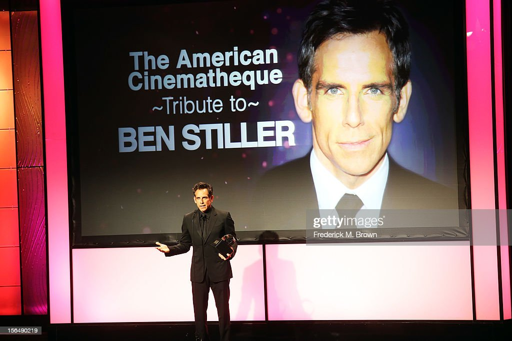 Honoree and actor <a gi-track='captionPersonalityLinkClicked' href=/galleries/search?phrase=Ben+Stiller&family=editorial&specificpeople=201806 ng-click='$event.stopPropagation()'>Ben Stiller</a> accepts his award onstage during the 26th American Cinematheque Award Gala honoring <a gi-track='captionPersonalityLinkClicked' href=/galleries/search?phrase=Ben+Stiller&family=editorial&specificpeople=201806 ng-click='$event.stopPropagation()'>Ben Stiller</a> at The Beverly Hilton Hotel on November 15, 2012 in Beverly Hills, California.