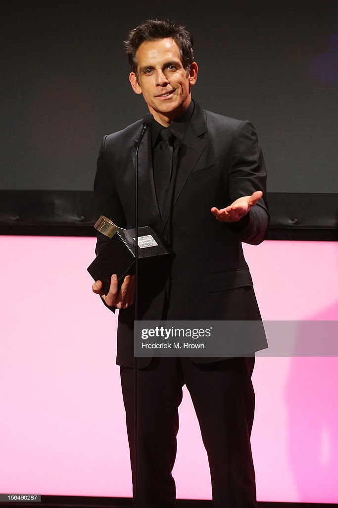 Honoree and actor Ben Stiller accepts his award onstage during the 26th American Cinematheque Award Gala honoring Ben Stiller at The Beverly Hilton Hotel on November 15, 2012 in Beverly Hills, California.
