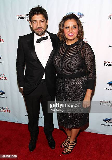 Honoree and director Alfonso GomezRejon and actor/comedienne Cristela Alonzo attend the National Hispanic Foundation for The Arts 19th Annual Noche...