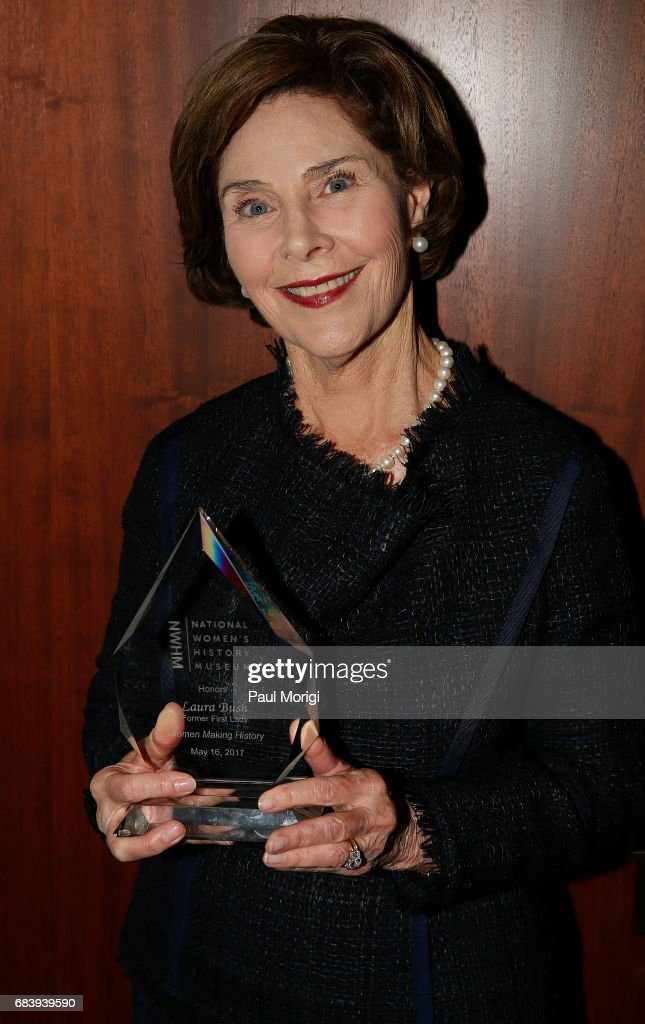 Honoree and Former First Lady of the United States, Laura Bush, receives the National Women's History Museum's Annual Women Making History Award at the Carnegie Institution for Science on May 16, 2017 in Washington, DC.