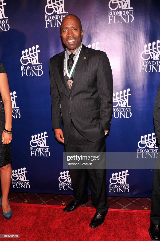 Honoree and former NBA player <a gi-track='captionPersonalityLinkClicked' href=/galleries/search?phrase=Kenny+Smith&family=editorial&specificpeople=221585 ng-click='$event.stopPropagation()'>Kenny Smith</a> attends the 28th Annual Great Sports Legends Dinner to Benefit The Buoniconti Fund To Cure Paralysis at The Waldorf=Astoria on September 30, 2013 in New York City.