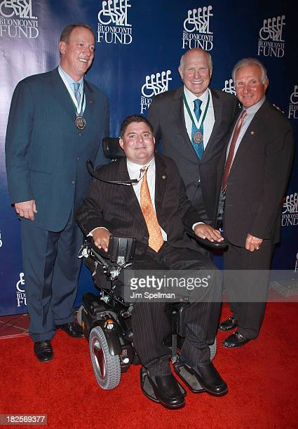 Honoree and former NFL player Jim Kelly President of Buoniconti Fund Marc Buoniconti and Founder Sports Legend and former NFL player Terry Bradshaw...