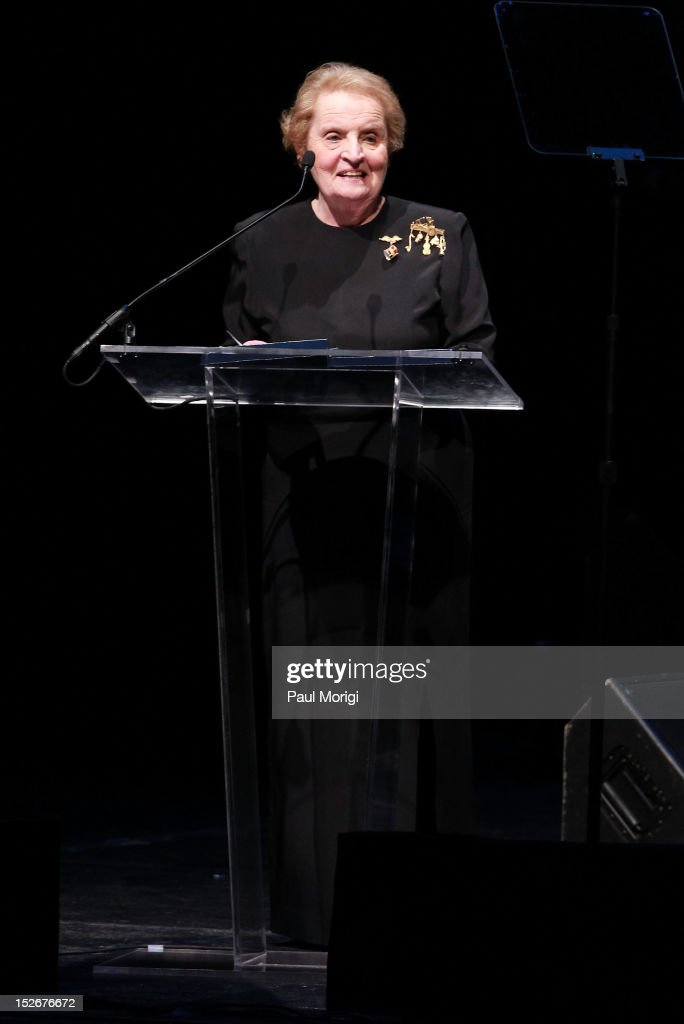 Honoree and former U.S. Secretary of State <a gi-track='captionPersonalityLinkClicked' href=/galleries/search?phrase=Madeleine+Albright&family=editorial&specificpeople=211429 ng-click='$event.stopPropagation()'>Madeleine Albright</a> makes a few remarks at the Thelonious Monk International Jazz Drums Competition and Gala Concert at The Kennedy Center on September 23, 2012 in Washington, DC.