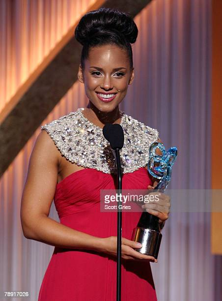 Honoree and musician Alicia Keys winner of the Entertainment Award onstage during the BET Honors at the Warner Theater on January 12 2008 in...