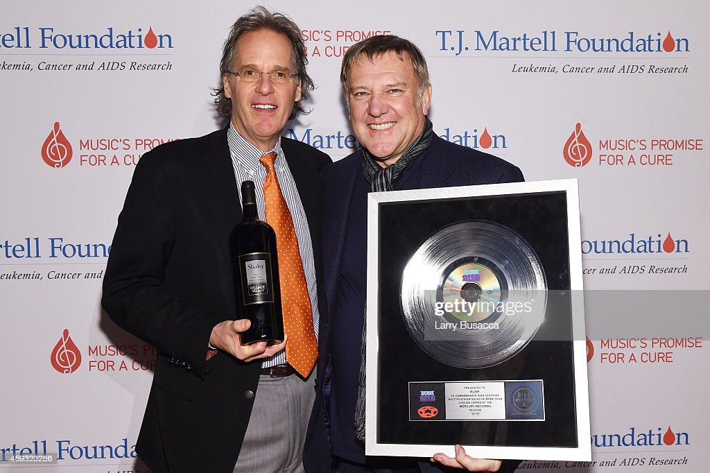 Honoree and owner of Shafer Vineyards Doug Shafer and Honoree and guitarist Alex Lifeson of Rush attend the TJ Martell Foundation's 11th annual New...