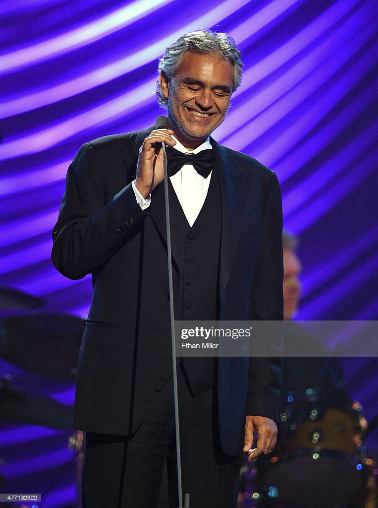 Honoree <a gi-track='captionPersonalityLinkClicked' href=/galleries/search?phrase=Andrea+Bocelli&family=editorial&specificpeople=211558 ng-click='$event.stopPropagation()'>Andrea Bocelli</a> performs during the 19th annual Keep Memory Alive 'Power of Love Gala' benefit for the Cleveland Clinic Lou Ruvo Center for Brain Health honoring <a gi-track='captionPersonalityLinkClicked' href=/galleries/search?phrase=Andrea+Bocelli&family=editorial&specificpeople=211558 ng-click='$event.stopPropagation()'>Andrea Bocelli</a> and Veronica Bocelli at MGM Grand Garden Arena on June 13, 2015 in Las Vegas, Nevada.