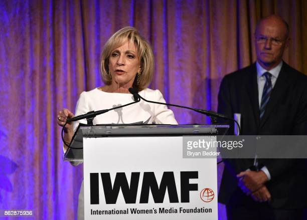 Honoree Andrea Mitchell and Phil Griffin speak onstage at The International Women's Media Foundation's 28th Annual Courage In Journalism Awards...