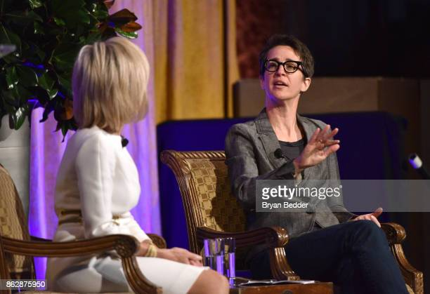 Honoree Andrea Mitchell and Rachel Maddow speak onstage at The International Women's Media Foundation's 28th Annual Courage In Journalism Awards...
