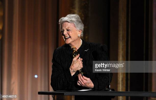 Honoree Angela Lansbury accepts honorary award onstage during the Academy of Motion Picture Arts and Sciences' Governors Awards at The Ray Dolby...