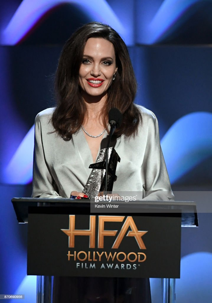 Honoree Angelina Jolie accepts the Hollywood Foreign Language Film Award for 'First They Killed My Father' onstage during the 21st Annual Hollywood Film Awards at The Beverly Hilton Hotel on November 5, 2017 in Beverly Hills, California.