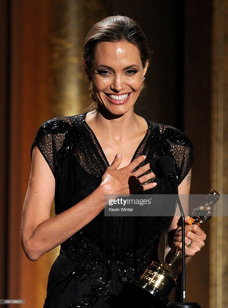 Honoree Angelina Jolie accepts the Jean Hersholt Humanitarian Award onstage during the Academy of Motion Picture Arts and Sciences' Governors Awards at The Ray Dolby Ballroom at Hollywood & Highland Center on November 16, 2013 in Hollywood, California.