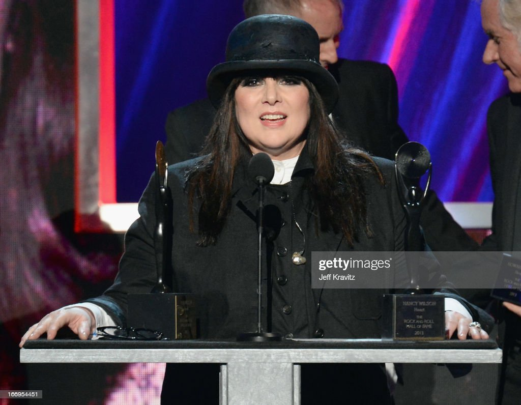 Honoree Ann Wilson performs at the 28th Annual Rock and Roll Hall of Fame Induction Ceremony at Nokia Theatre L.A. Live on April 18, 2013 in Los Angeles, California.