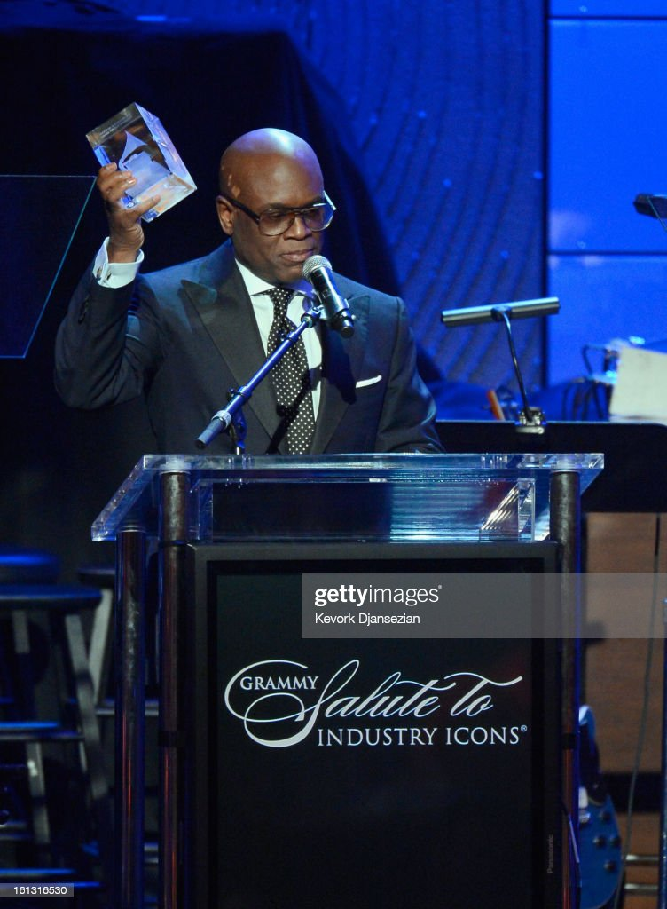Honoree Antonio 'L.A.' Reid onstage at Clive Davis & The Recording Academy's 2013 Pre-GRAMMY Gala and Salute to Industry Icons honoring Antonio 'L.A.' Reid at The Beverly Hilton Hotel on February 9, 2013 in Beverly Hills, California.