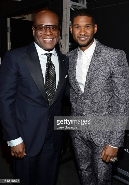 Honoree Antonio 'LA' Reid and singer Usher attend the 55th Annual GRAMMY Awards PreGRAMMY Gala and Salute to Industry Icons honoring LA Reid held at...