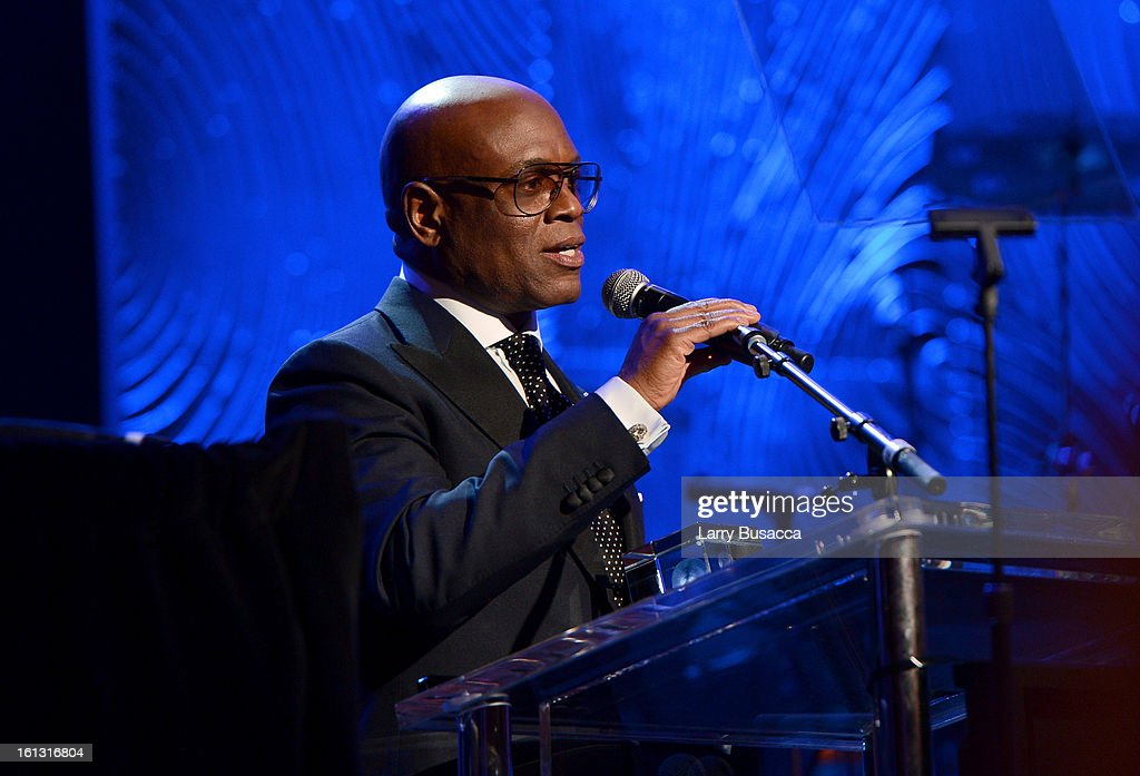 Honoree Antonio 'LA' Reid onstage at the 55th Annual GRAMMY Awards Pre-GRAMMY Gala and Salute to Industry Icons honoring <a gi-track='captionPersonalityLinkClicked' href=/galleries/search?phrase=L.A.+Reid&family=editorial&specificpeople=2546947 ng-click='$event.stopPropagation()'>L.A. Reid</a> held at The Beverly Hilton on February 9, 2013 in Los Angeles, California.