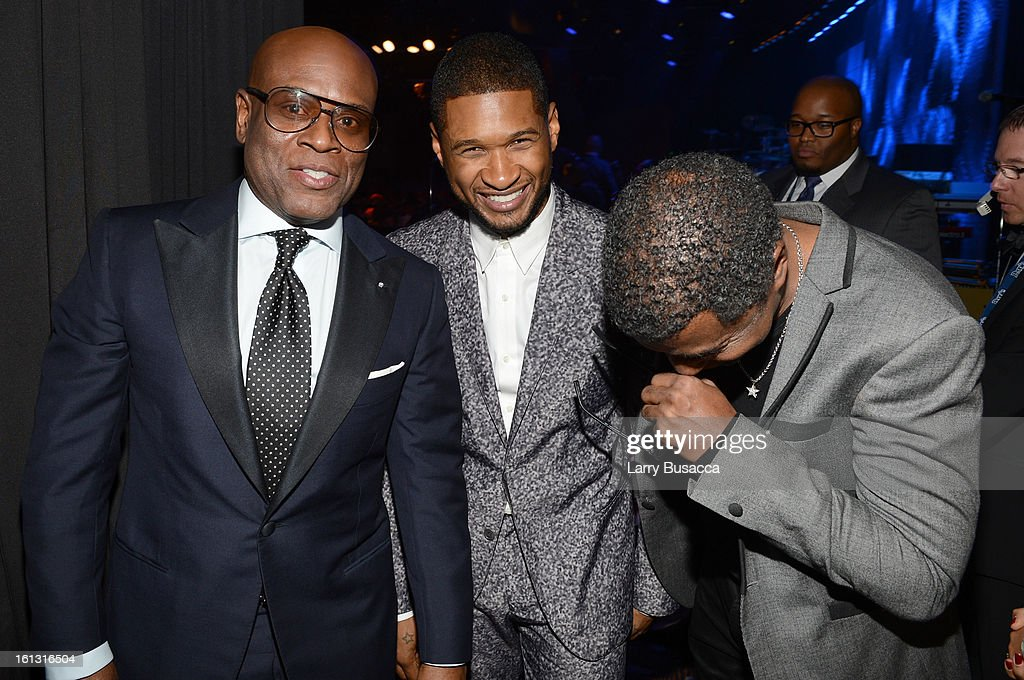 Honoree Antonio 'LA' Reid, singer Usher and producer Babyface attend the 55th Annual GRAMMY Awards Pre-GRAMMY Gala and Salute to Industry Icons honoring L.A. Reid held at The Beverly Hilton on February 9, 2013 in Los Angeles, California.