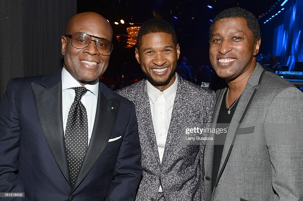 Honoree Antonio 'LA' Reid, singer Usher and producer <a gi-track='captionPersonalityLinkClicked' href=/galleries/search?phrase=Babyface&family=editorial&specificpeople=227435 ng-click='$event.stopPropagation()'>Babyface</a> attend the 55th Annual GRAMMY Awards Pre-GRAMMY Gala and Salute to Industry Icons honoring L.A. Reid held at The Beverly Hilton on February 9, 2013 in Los Angeles, California.