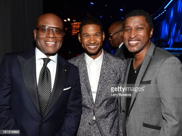 Honoree Antonio 'LA' Reid singer Usher and producer Babyface attend the 55th Annual GRAMMY Awards PreGRAMMY Gala and Salute to Industry Icons...