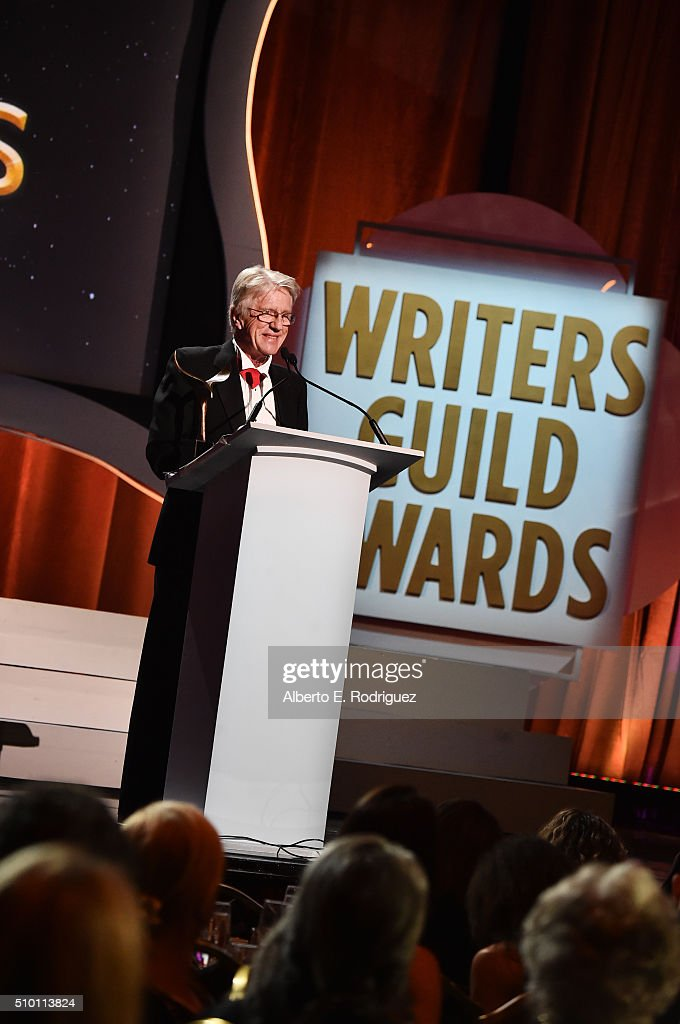 Honoree Arthur Sellers accepts the Morgan Cox Award onstage during the 2016 Writers Guild Awards at the Hyatt Regency Century Plaza on February 13...