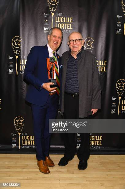 Honoree Award Recipient Harold Wolpert and presenter Terrence McNally pose backstage during 32nd Annual Lucille Lortel Awards at NYU Skirball Center...