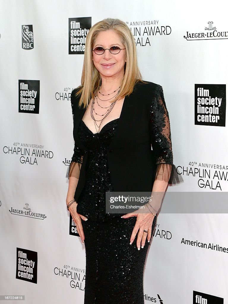 Honoree Barbra Streisand arrives at the 40th Anniversary Chaplin Award Gala at Avery Fisher Hall at Lincoln Center for the Performing Arts on April 22, 2013 in New York City.