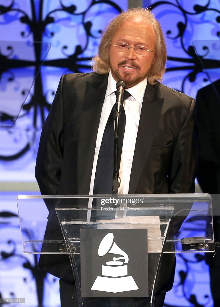Honoree Barry Gibb speaks onstage during The 57th Annual GRAMMY Awards - Special Merit Awards Ceremony on February 7, 2015 in Los Angeles, California.