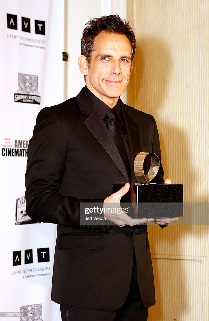 Honoree <a gi-track='captionPersonalityLinkClicked' href=/galleries/search?phrase=Ben+Stiller&family=editorial&specificpeople=201806 ng-click='$event.stopPropagation()'>Ben Stiller</a> attends the 26th American Cinematheque Award Gala honoring <a gi-track='captionPersonalityLinkClicked' href=/galleries/search?phrase=Ben+Stiller&family=editorial&specificpeople=201806 ng-click='$event.stopPropagation()'>Ben Stiller</a> at The Beverly Hilton Hotel on November 15, 2012 in Beverly Hills, California.