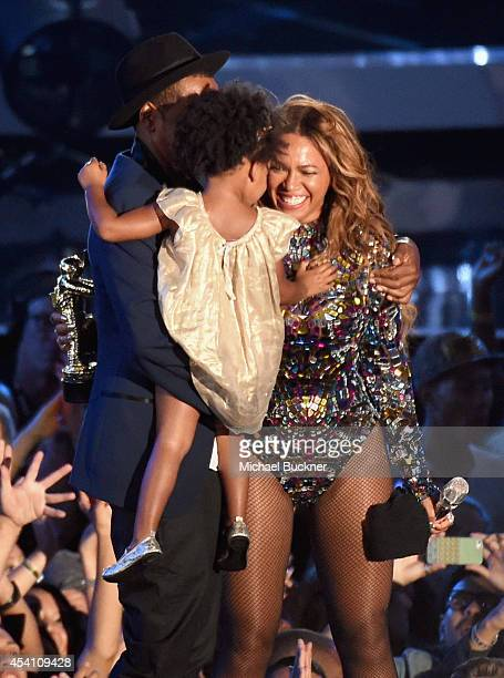 Honoree Beyonce and daughter Blue Ivy Carter onstage during the 2014 MTV Video Music Awards at The Forum on August 24 2014 in Inglewood California