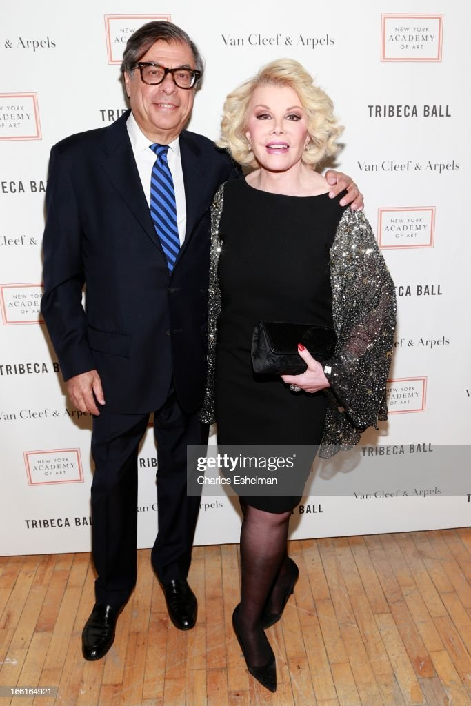 Honoree Bob Colacello and comedian Joan Rivers attend 2013 Tribeca Ball at New York Academy of Art on April 8, 2013 in New York City.
