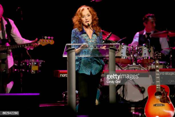 Honoree Bonnie Raitt speaks onstage during the Little Kids Rock Benefit 2017 at PlayStation Theater on October 18 2017 in New York City